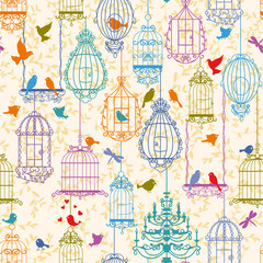 Recess Fitting Birds in cages Birds and cages vintage pattern