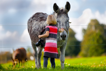 Country side with girl and donkey