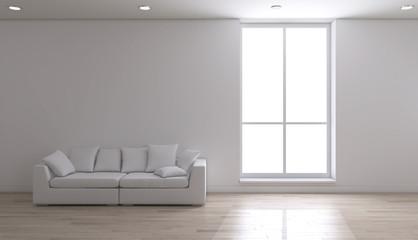 Interno vuoto con finestra e divano