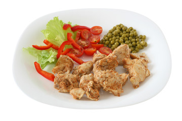 chicken with peas on a plate
