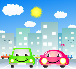 Printed roller blinds Cars two cute cartoon car in city road