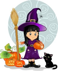 Witch girl with cat and pumpkins