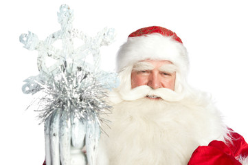 A traditional Christmas Santa Clause with staff isolated on whit
