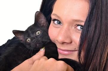 femme avec chat isolé