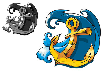 Vintage anchor in sea