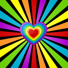 Rainbow heart background.