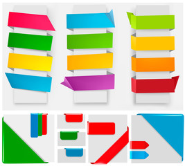 Big collection of origami paper banners. Vector