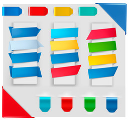 Collection of origami paper banners. Vector.