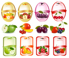 Set of labels with berries and fruit. Vector.