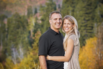 Beautiful Middle-aged Couple Outdoors Portrait