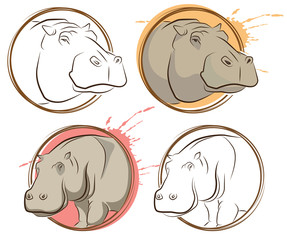 Vector set of abstract drawing animal. Hippopotamus