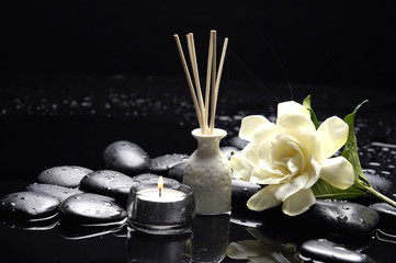 Aluminium Prints Spa candle with gardenia flower and zen stones