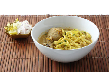 Noodle Khao soy , Thai food isolated in whit background