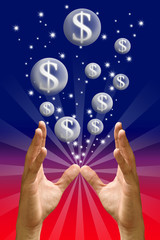 Money bubble flying from hand