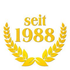 seit 1988 jubiläum lorbeerkranz lorbeer gold