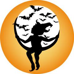 Halloween vector Illustration, black silhouette of a boy