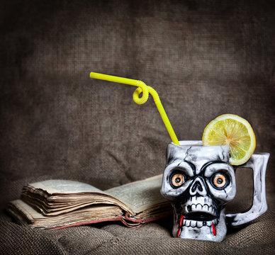 Cocktail in skull mug