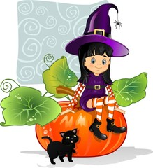 Witch girl sitting on pumpkin with cat-decorated background
