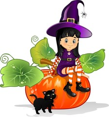 Witch girl sitting on pumpkin with cat