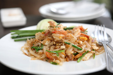 Thai food padthai on wood background
