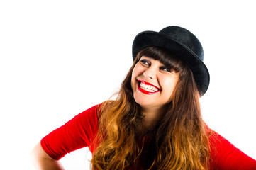 beautiful smiling young woman wearing bowler hat