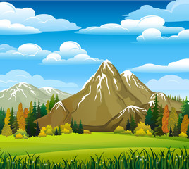 Autumn landscape with mountains and meadow