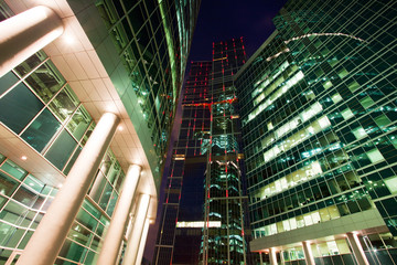Modern skyscrapers at night.
