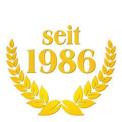 seit 1986  jubiläum lorbeerkranz lorbeer gold