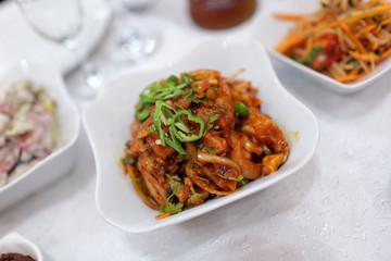 Korean salad in restaurant