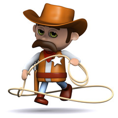 Printed roller blinds Wild West 3d Sheriff shows off his lasso skills....