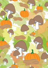 Seamless pattern with leaves, pumpkins and mushrooms