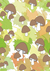 Seamless pattern with leaves and mushrooms