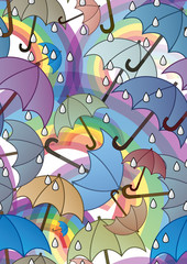 Seamless pattern with rainbows and umbrellas