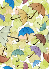 Seamless pattern with leaves and umbrellas