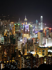 Hong Kong with crowded building at night