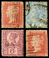 Set of Old Postage Stamps Britain Queen Victoria
