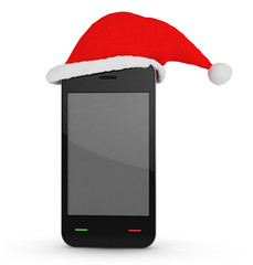 phone with xmas hat