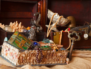 vintage treasure chests with old jewellery