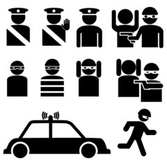 Set of robber and police officer stick figures