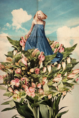 art collage with beautiful young woman in flowers