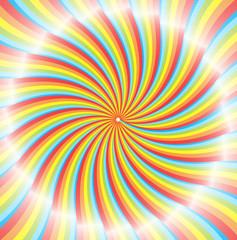 Poster de jardin Psychedelique Shiny Rainbow Sunburst