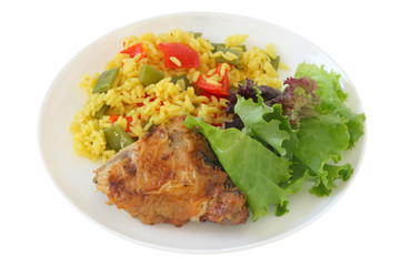 Fried chicken with rice and salad