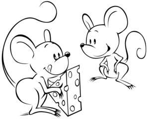 two mouses with cheese sketch