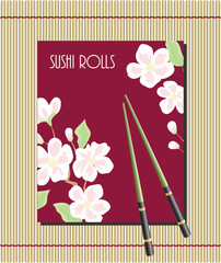 Menu for sushi rolls