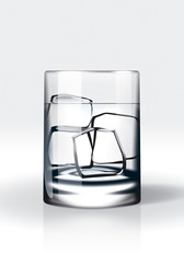 Vodka with ice / water with ice