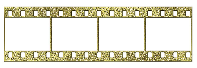 Gold 35mm film isolated