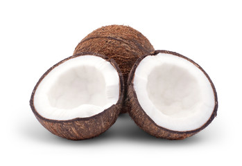 whole and broken coconut isolated on a white