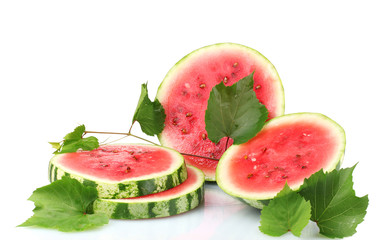 ripe sliced watermelon isolated on white