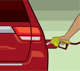 Hand fueling the car vector