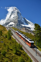 Wall Mural - Gornergrat train and Matterhorn. Switzerland